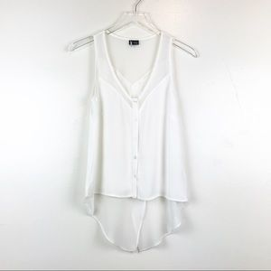 UO Sparkle & FadeIvory Sheer Detail Top sz XS H22